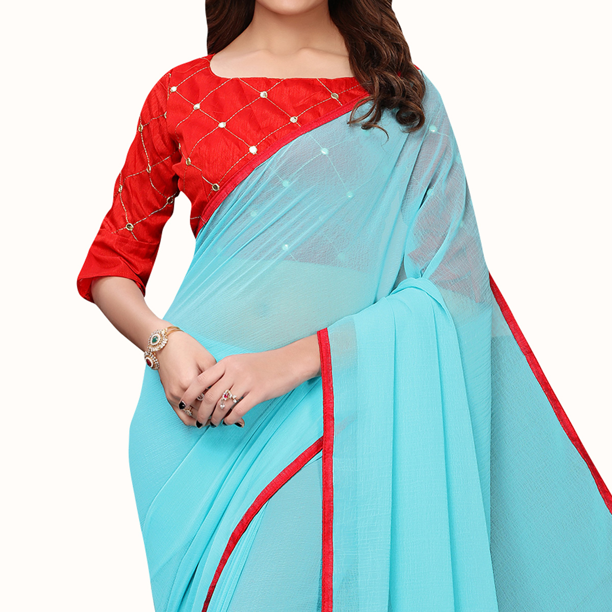 Impressive Sky Blue Colored Party Wear Georgette Saree