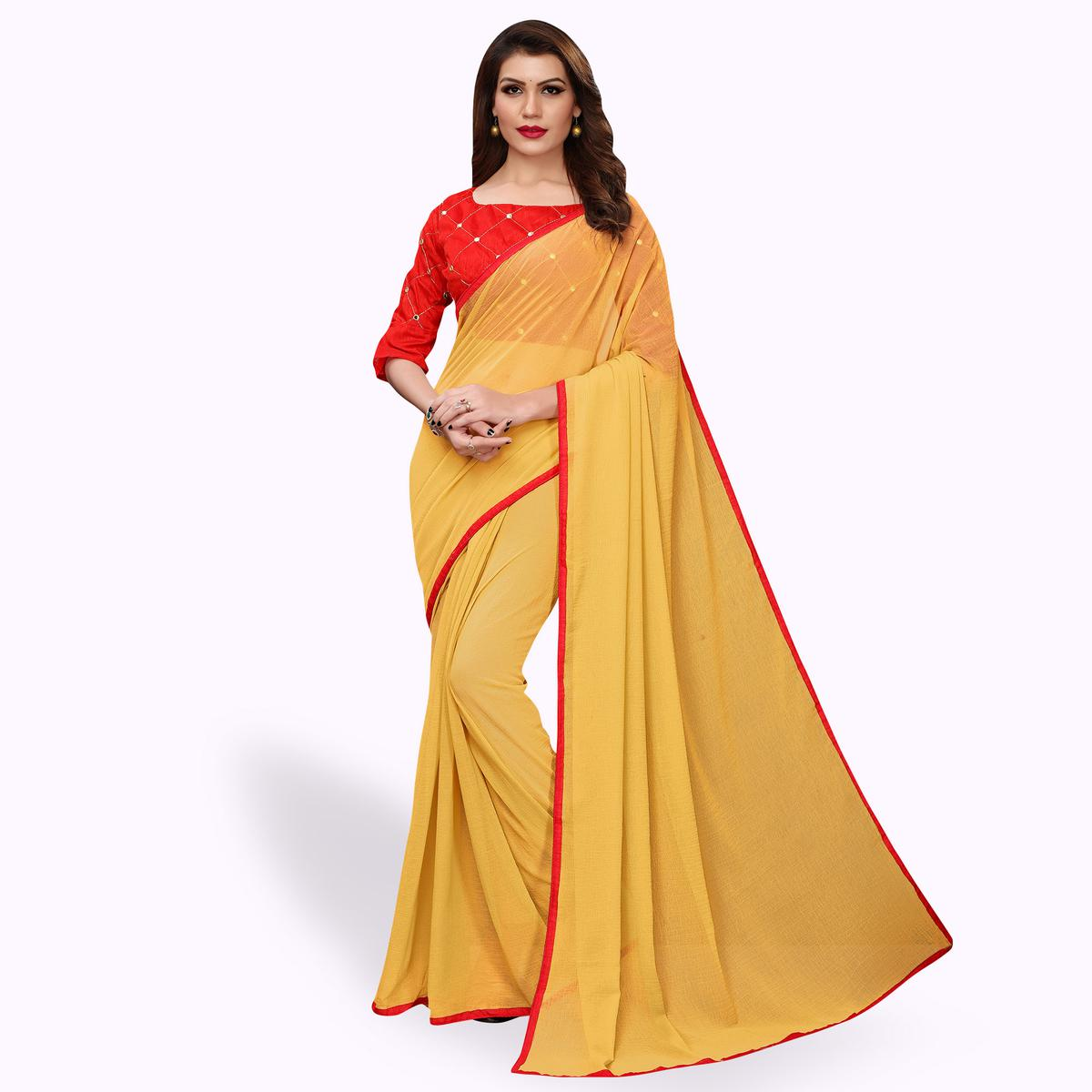 Pleasance Yellow Colored Party Wear Georgette Saree