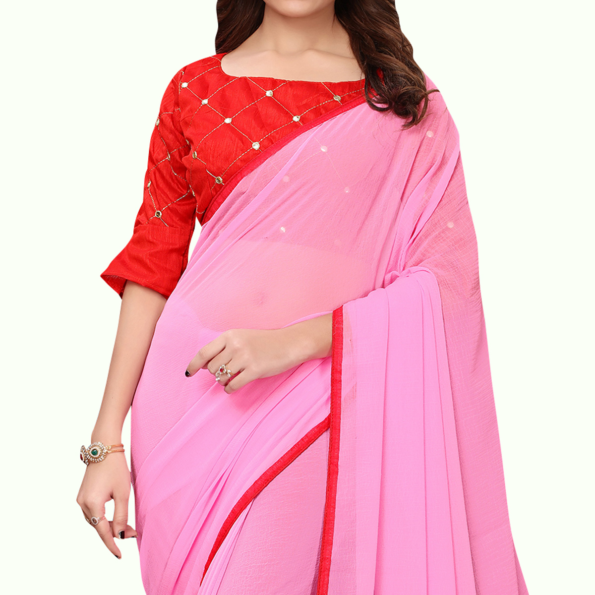 Breathtaking Pink Colored Party Wear Georgette Saree