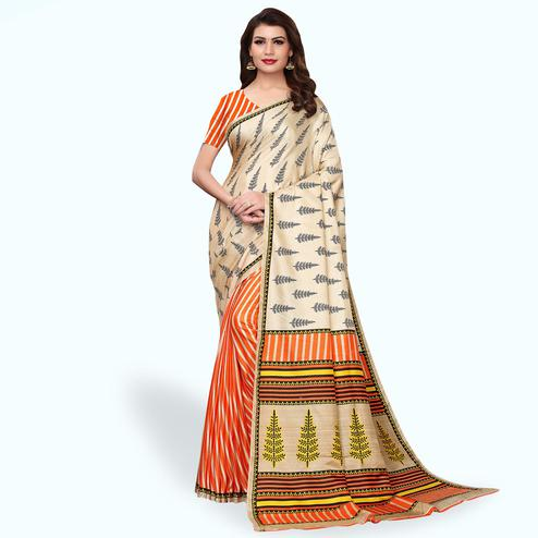 Ethnic Orange - Cream Colored Casual Wear Printed Art Silk Saree
