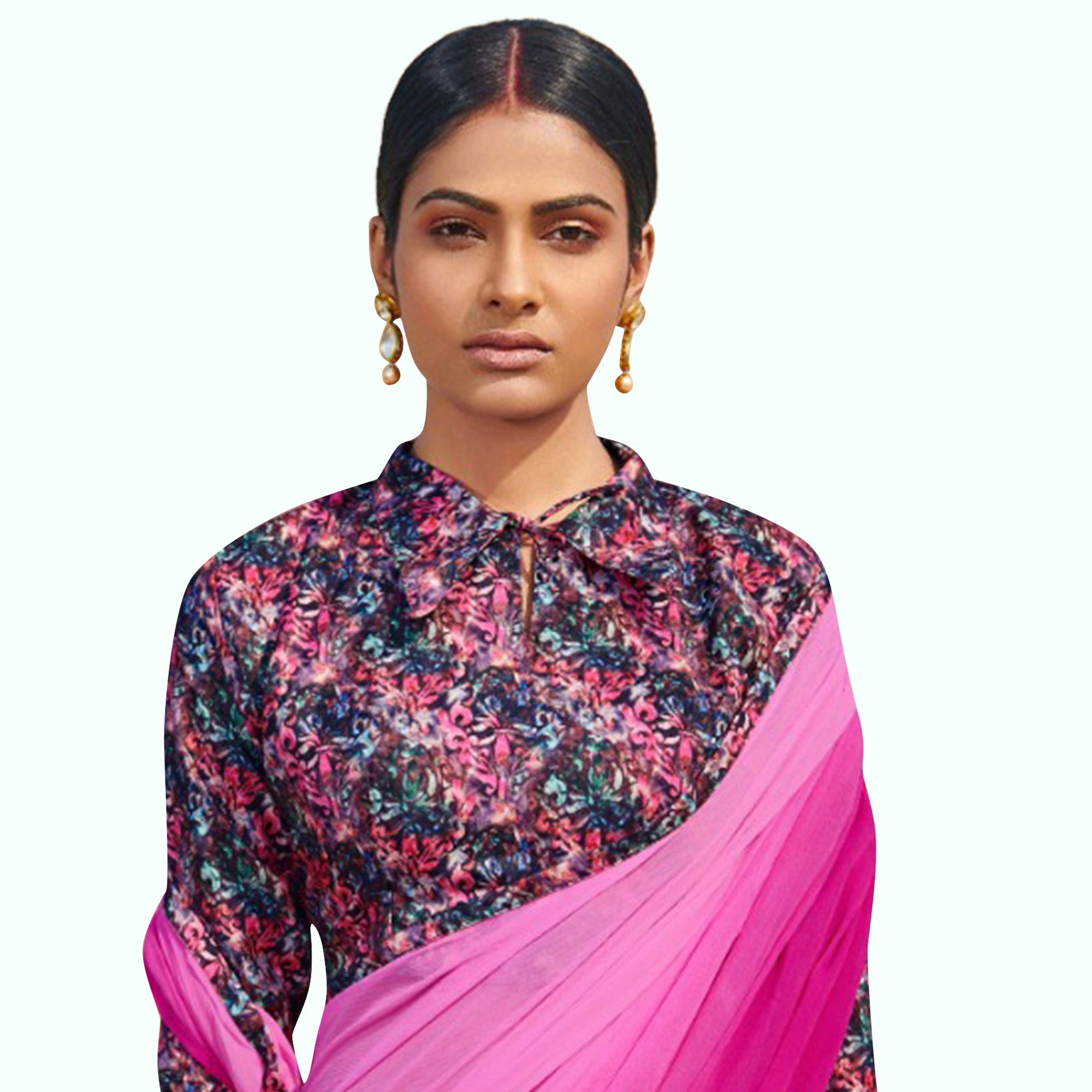 Arresting Rani Pink Colored Casual Wear Chiffon Saree