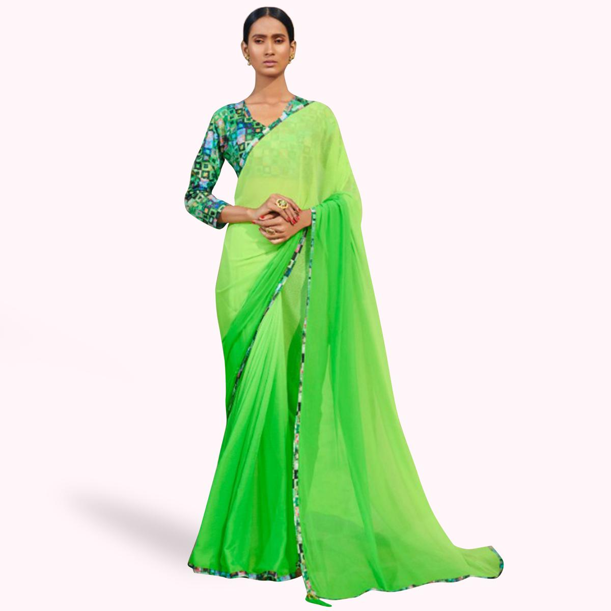 Exotic Green Colored Casual Wear Chiffon Saree