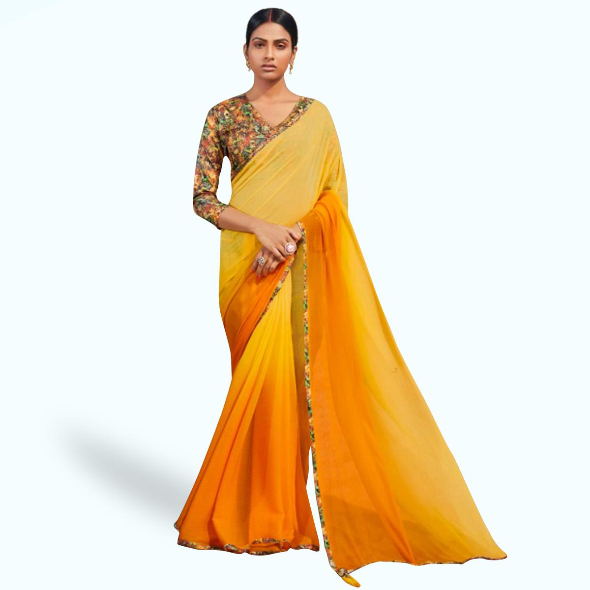 Elegant Yellow Colored Casual Wear Chiffon Saree