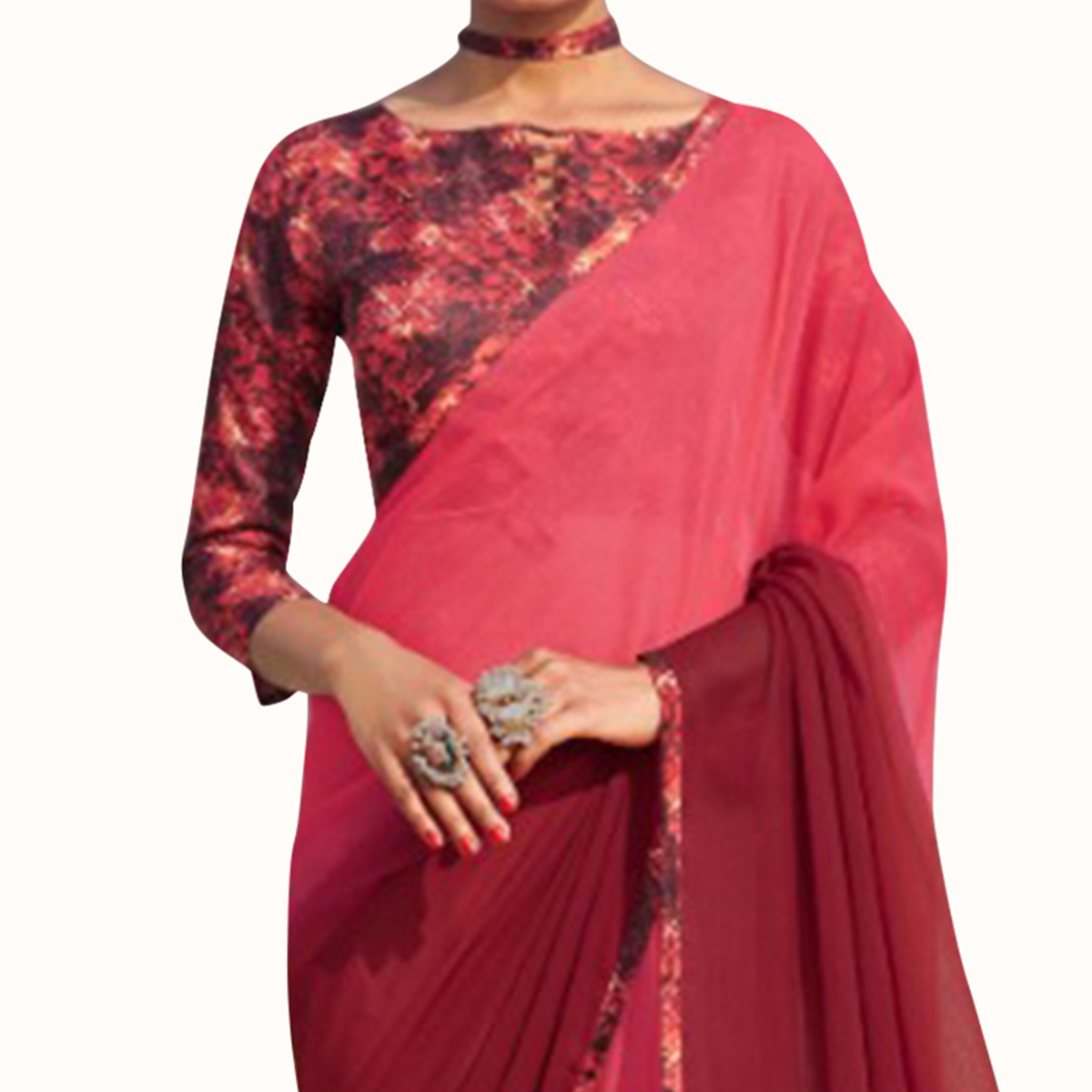 Pleasant Maroon-Pink Colored Casual Wear Chiffon Saree