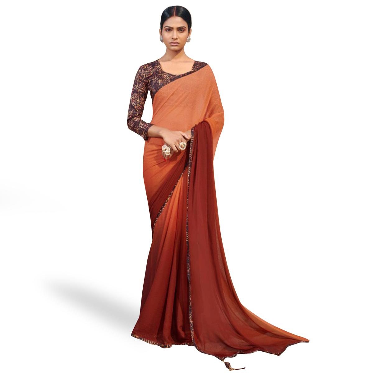 Energetic Brown Colored Casual Wear Chiffon Saree