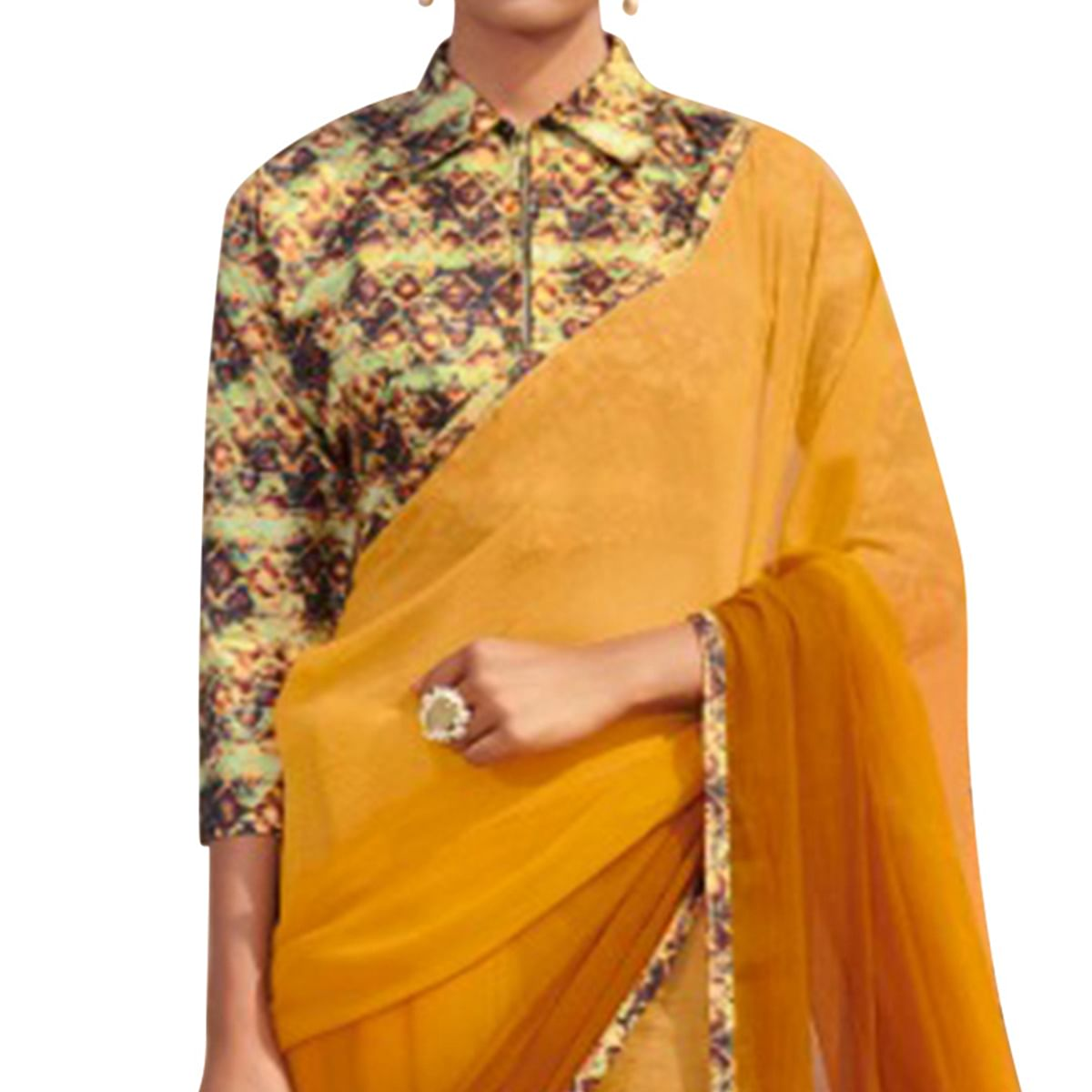 Exceptional Yellow Colored Casual Wear Chiffon Saree