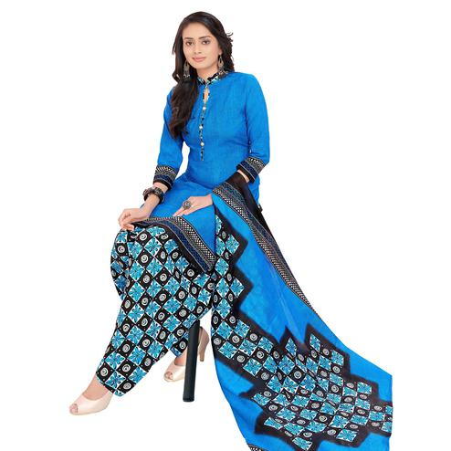Attractive Blue Colored Casual Printed Cotton Dress Material