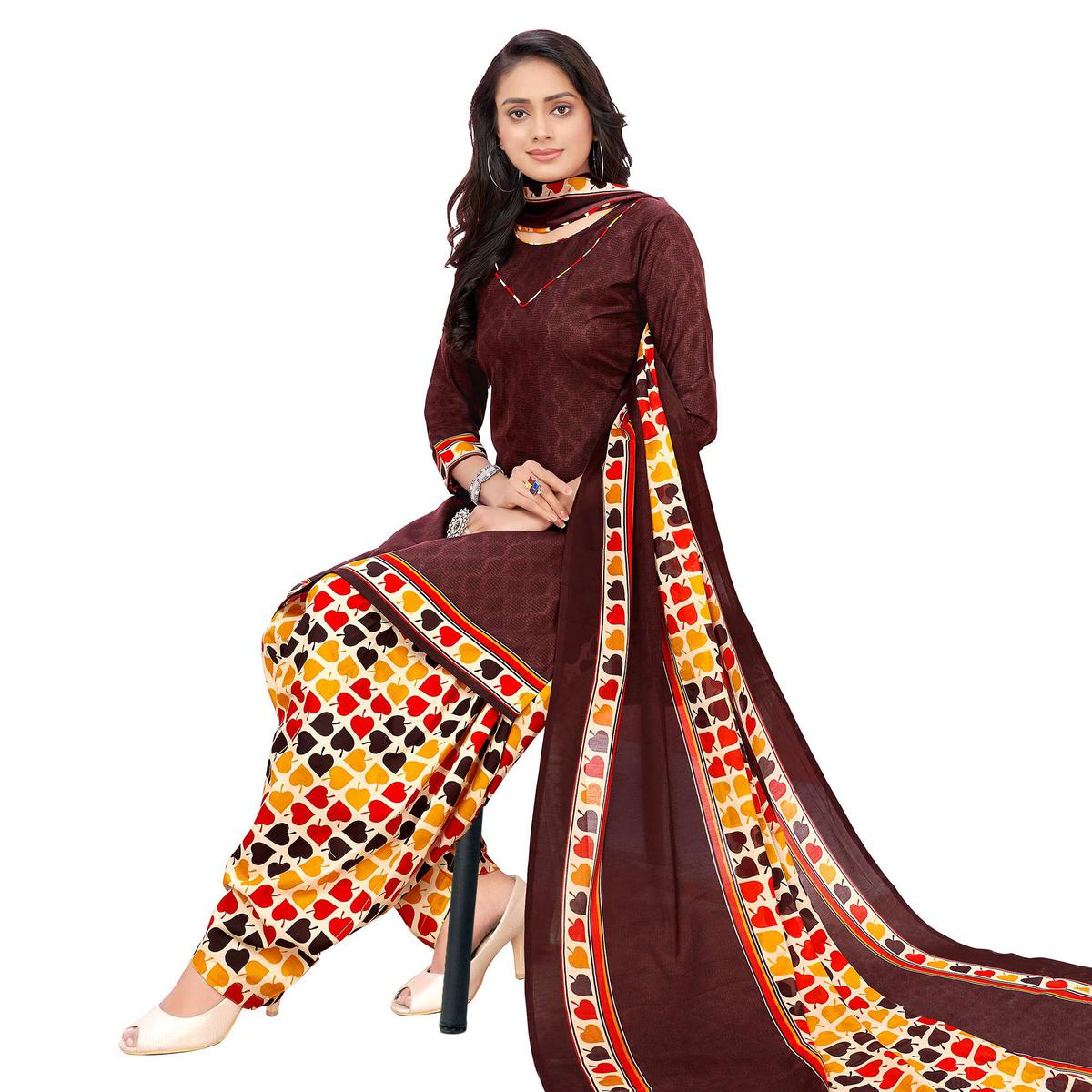 Lovely Brown Colored Casual Printed Cotton Dress Material