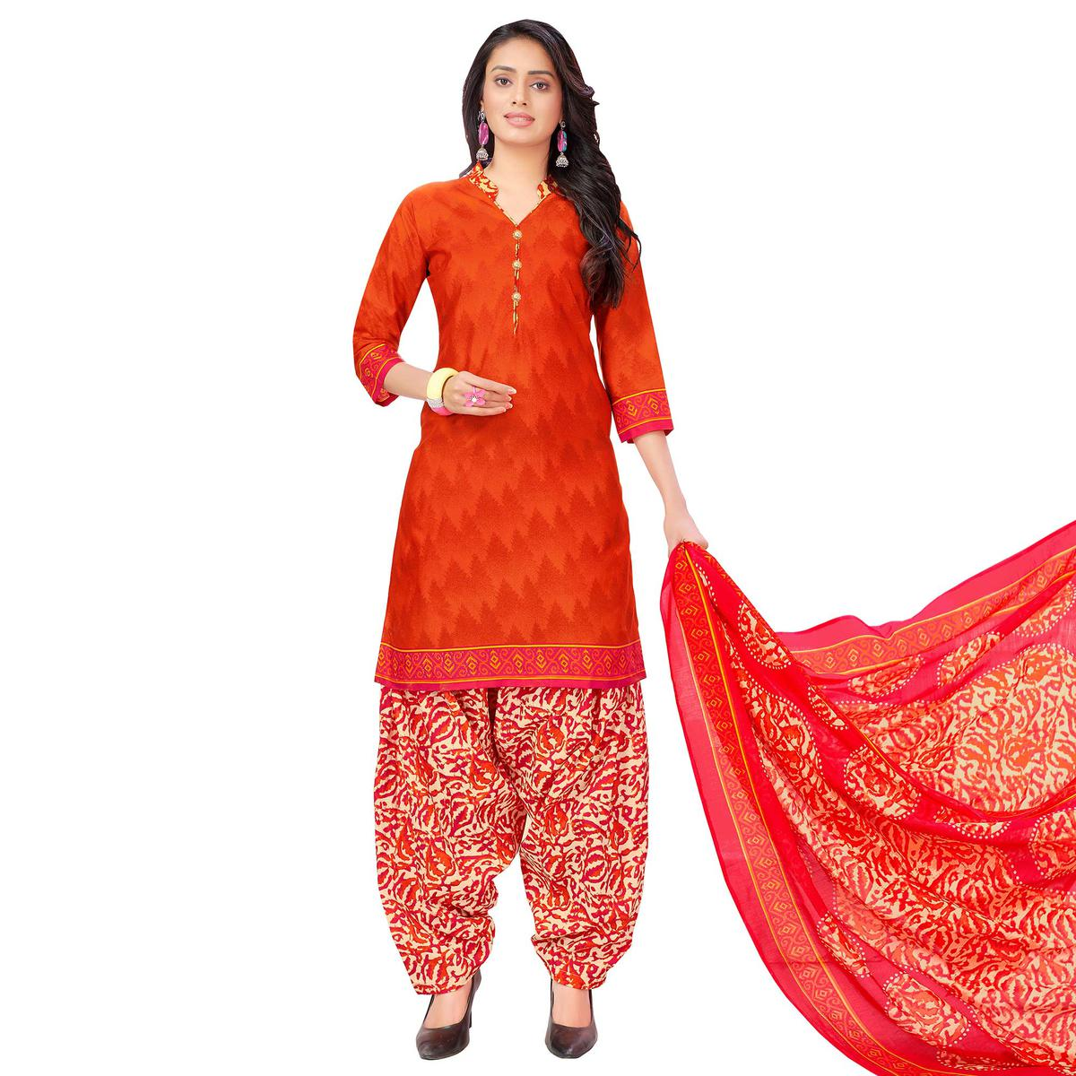 Mesmeric Coral Red Colored Casual Printed Cotton Dress Material