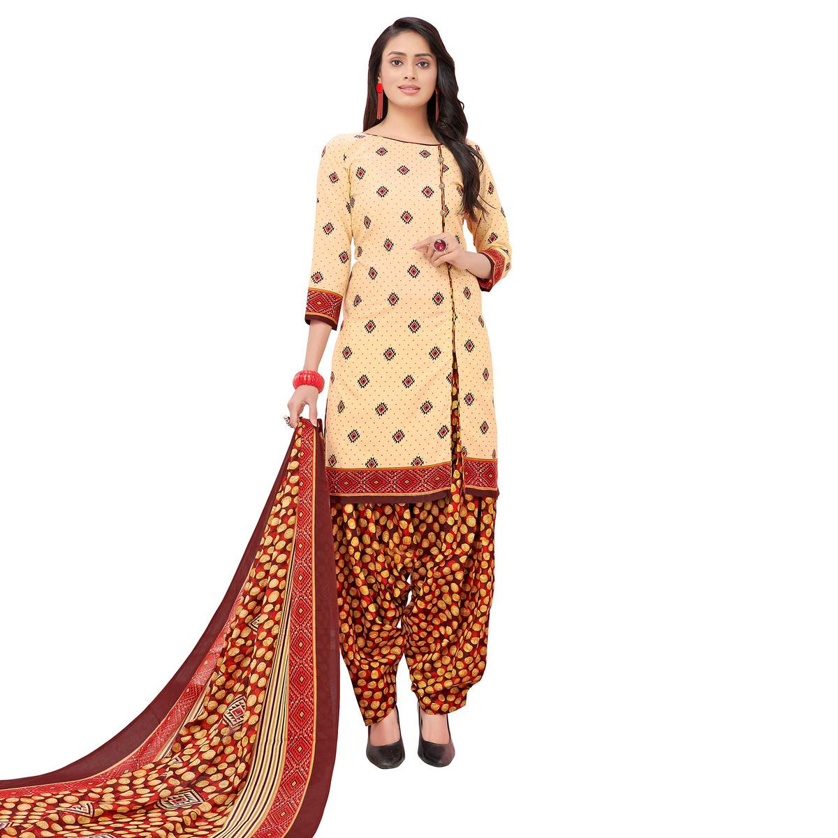 Majesty Cream Colored Casual Printed Cotton Dress Material