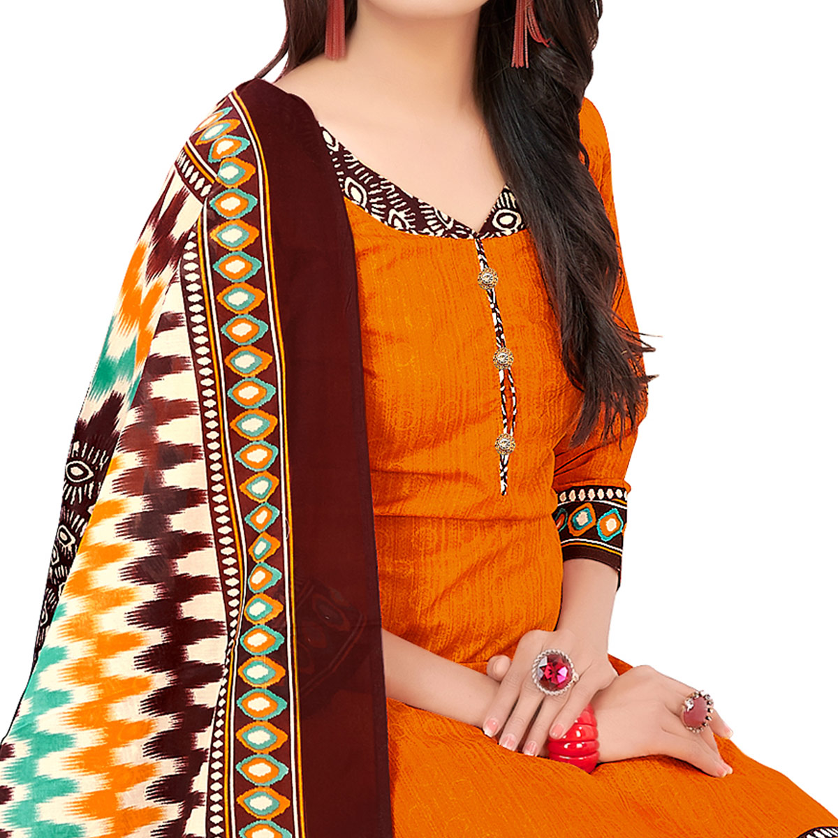 Trendy Orange Colored Casual Printed Cotton Dress Material