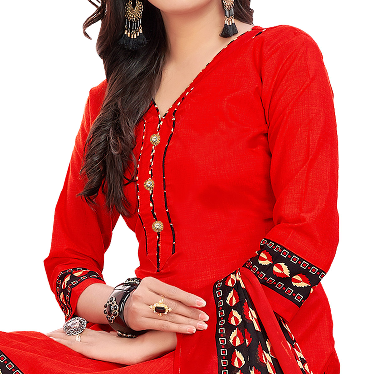 Elegant Hot Red Colored Casual Printed Cotton Dress Material
