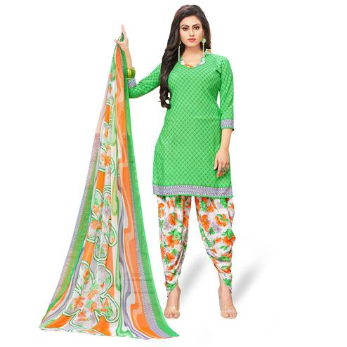 Gleaming Green Colored Casual Wear Printed Crepe Patiala Suit