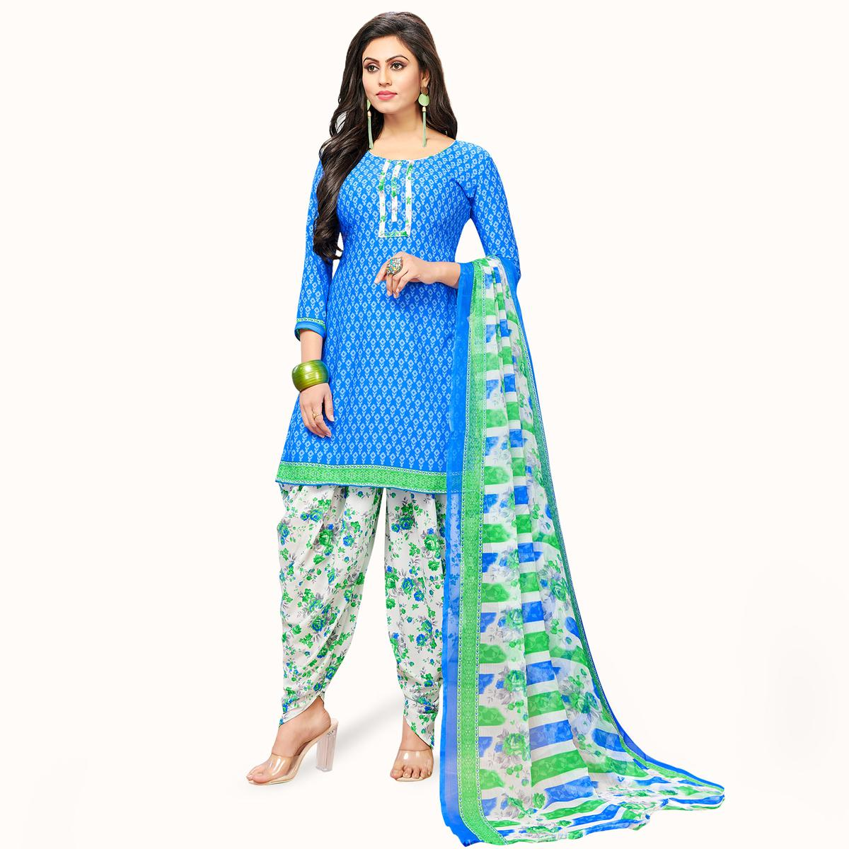 Mesmeric Blue Colored Casual Wear Printed Crepe Patiala Suit