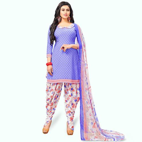 Unique Purple Colored Casual Wear Printed Crepe Patiala Suit