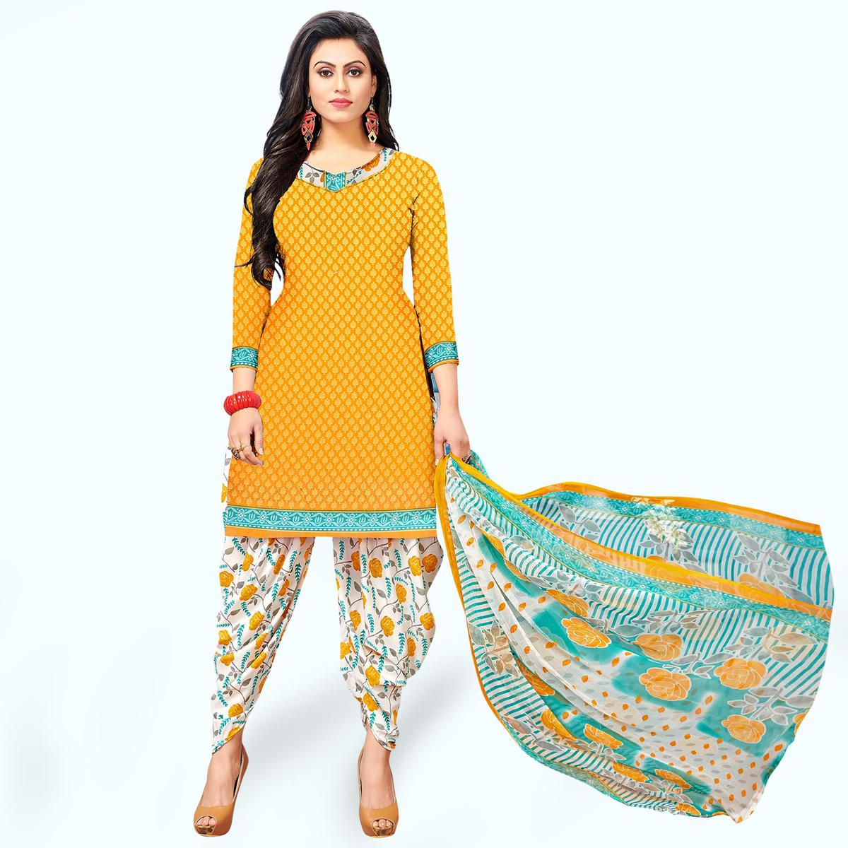 Demanding Yellow Colored Casual Wear Printed Crepe Patiala Suit
