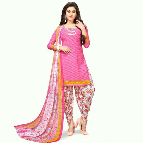 Refreshing Pink Colored Casual Wear Printed Crepe Patiala Suit