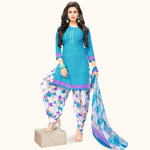 Magnetic Sky Blue Colored Casual Wear Printed Crepe Patiala Suit
