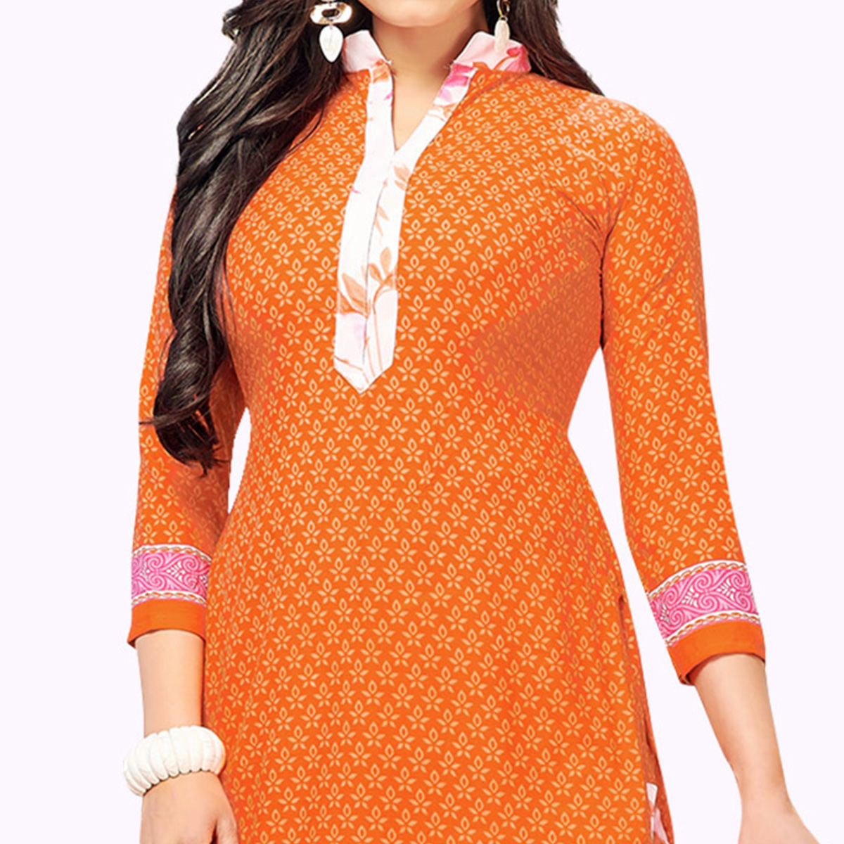Hypnotic Orange Colored Casual Wear Printed Crepe Patiala Suit