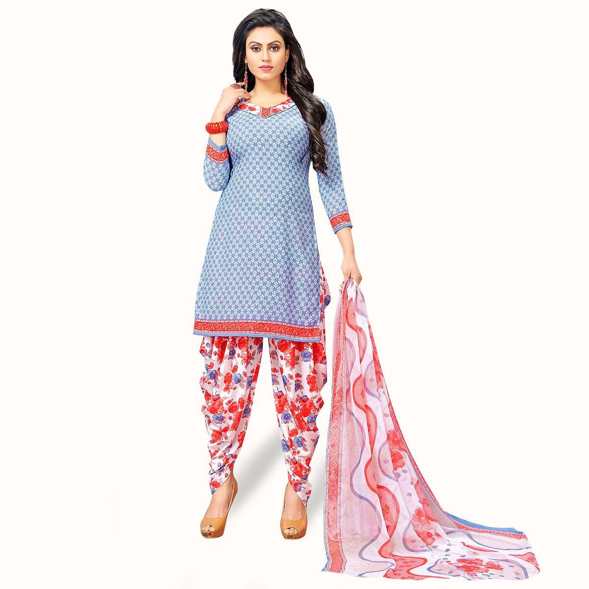 Flattering Slate Blue Colored Casual Wear Printed Crepe Patiala Suit