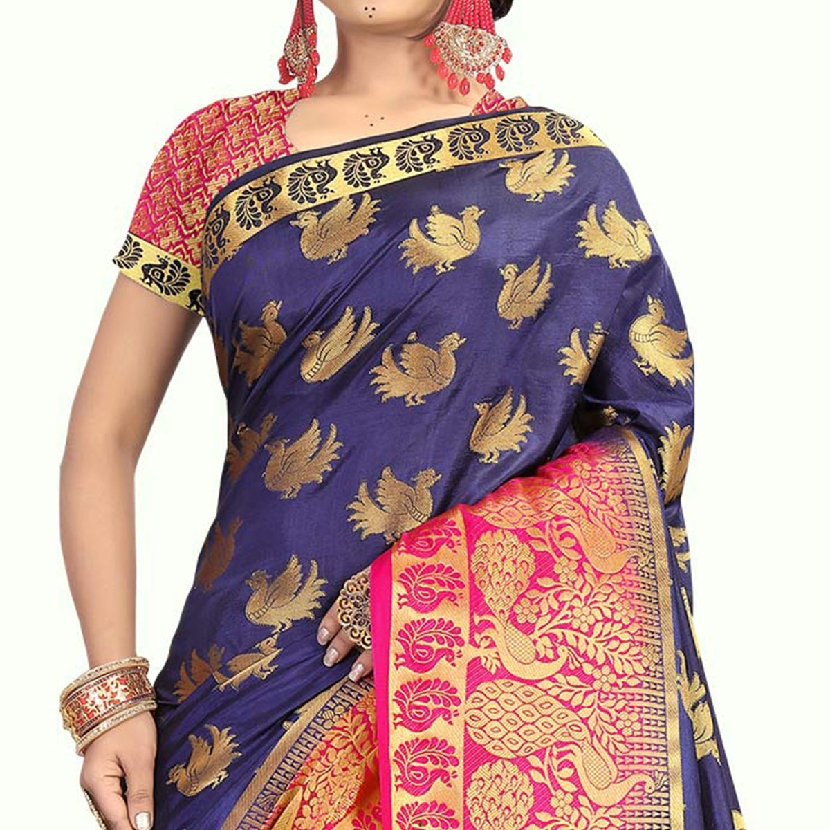 Delightful Pink - Navy Blue Colored Festive Wear Tussar Silk Saree