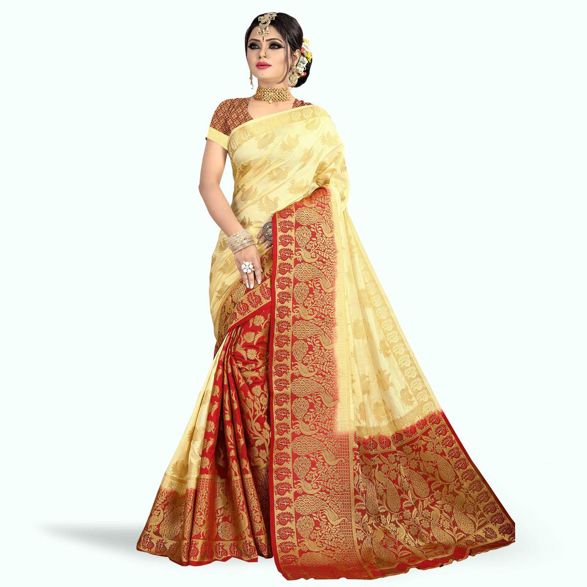 Engrossing Red - Cream Colored Festive Wear Tussar Silk Saree