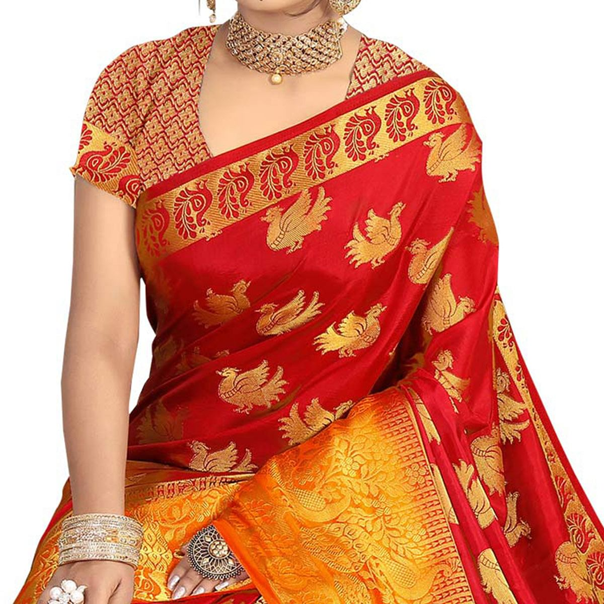 Captivating Orange - Red Colored Festive Wear Tussar Silk Saree
