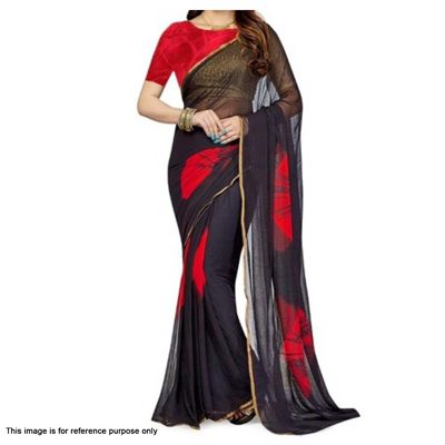 Black Chiffon Printed Saree