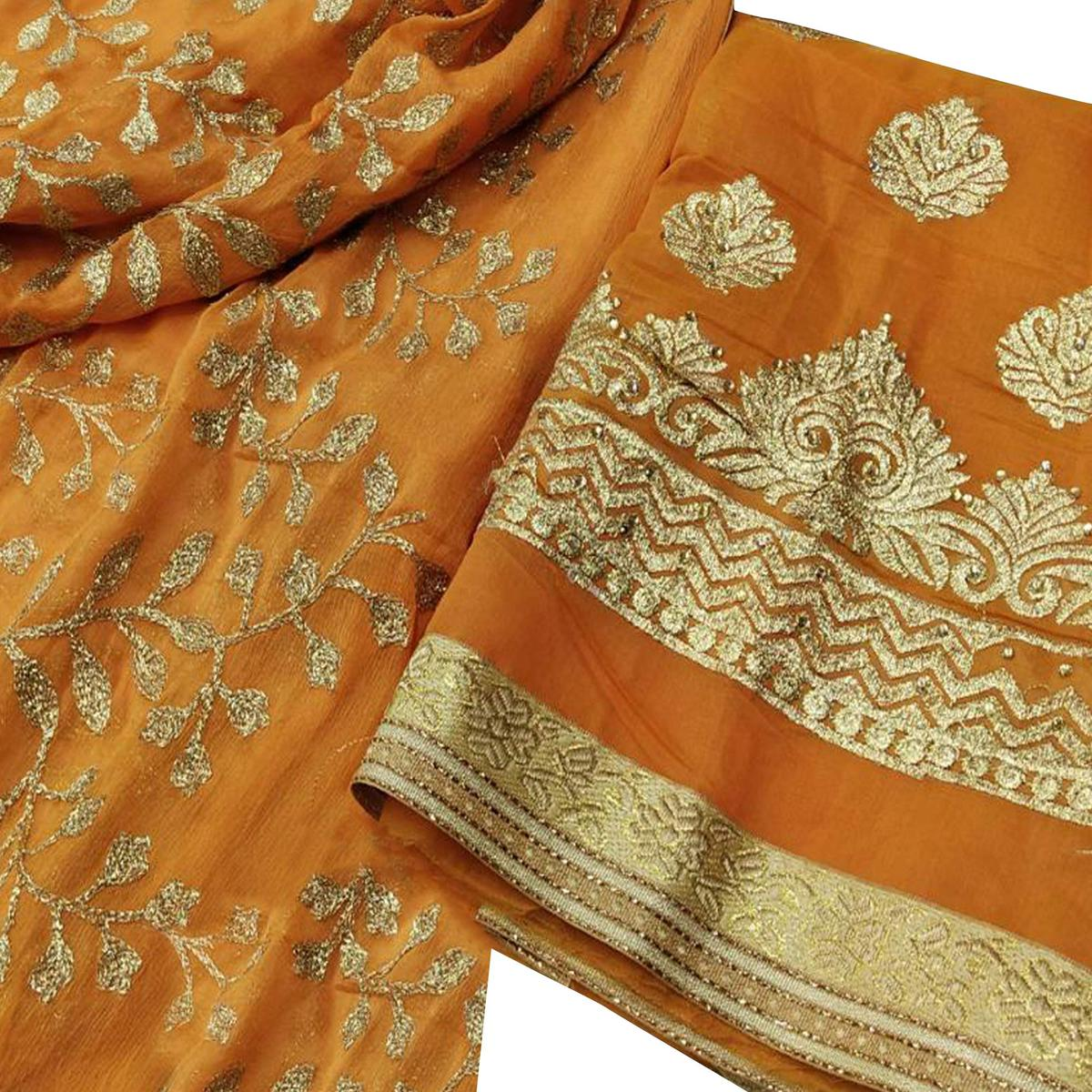 Glowing Orange Colored Party Wear Embroidered Modal Dress Material