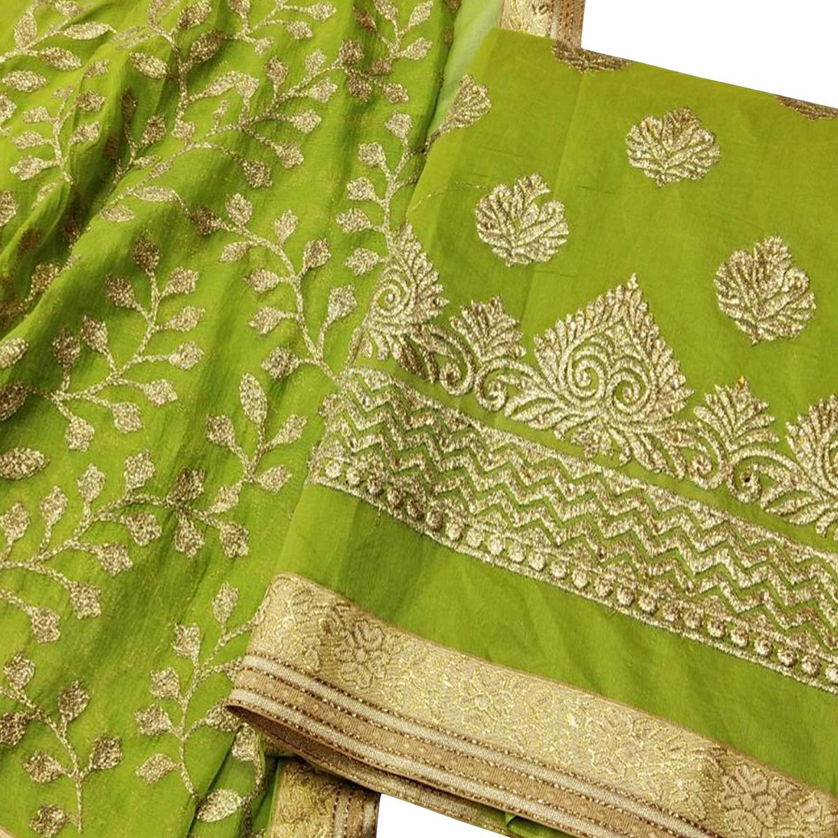 Mesmeric Green Colored Party Wear Embroidered Modal Dress Material