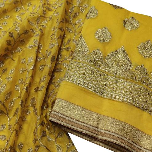 Unique Yellow Colored Party Wear Embroidered Modal Dress Material