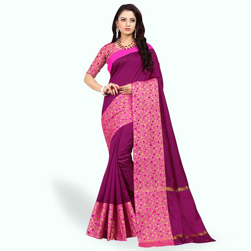 Appealing Purple Colored Festive Wear Woven Cotton Silk Saree