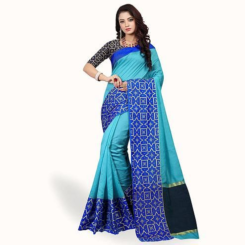 Capricious Sky Blue Colored Festive Wear Woven Cotton Silk Saree