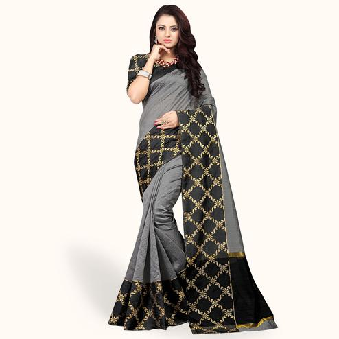 Classy Gray Colored Festive Wear Woven Cotton Silk Saree