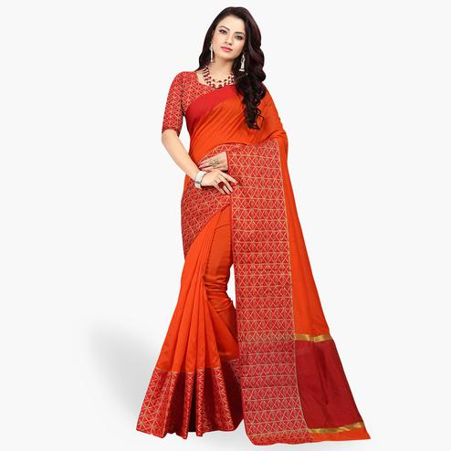 Groovy Orange Colored Festive Wear Woven Cotton Silk Saree