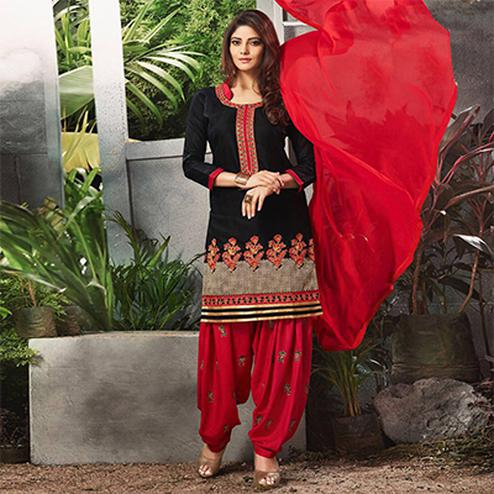 Gorgeous Black Embroidered Cotton Patialia Suit