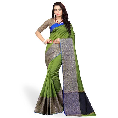 Prominent Green Colored Festive Wear Woven Cotton Silk Saree