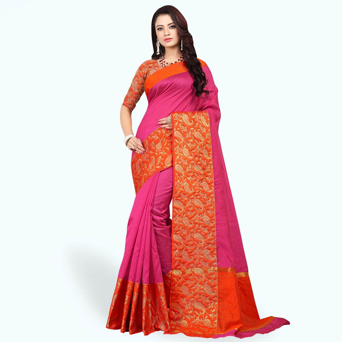 Glowing Pink Colored Festive Wear Woven Cotton Silk Saree