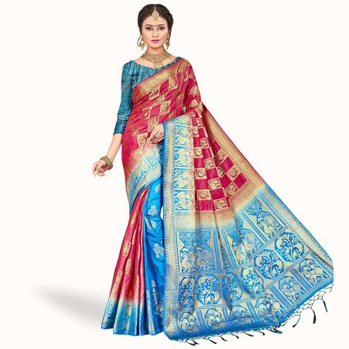 Charming Pink - Blue Colored Festive Wear Woven Art Silk Saree