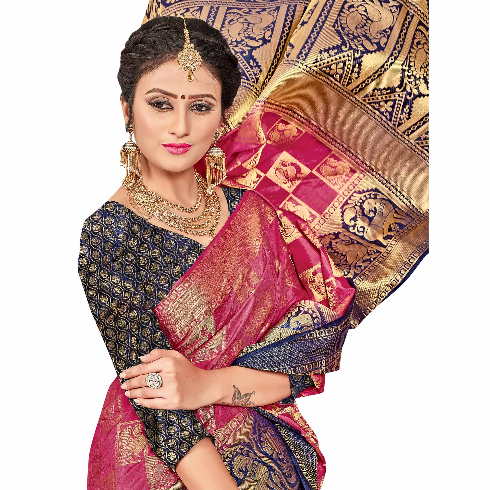 Jazzy Pink - Navy Blue Colored Festive Wear Woven Art Silk Saree