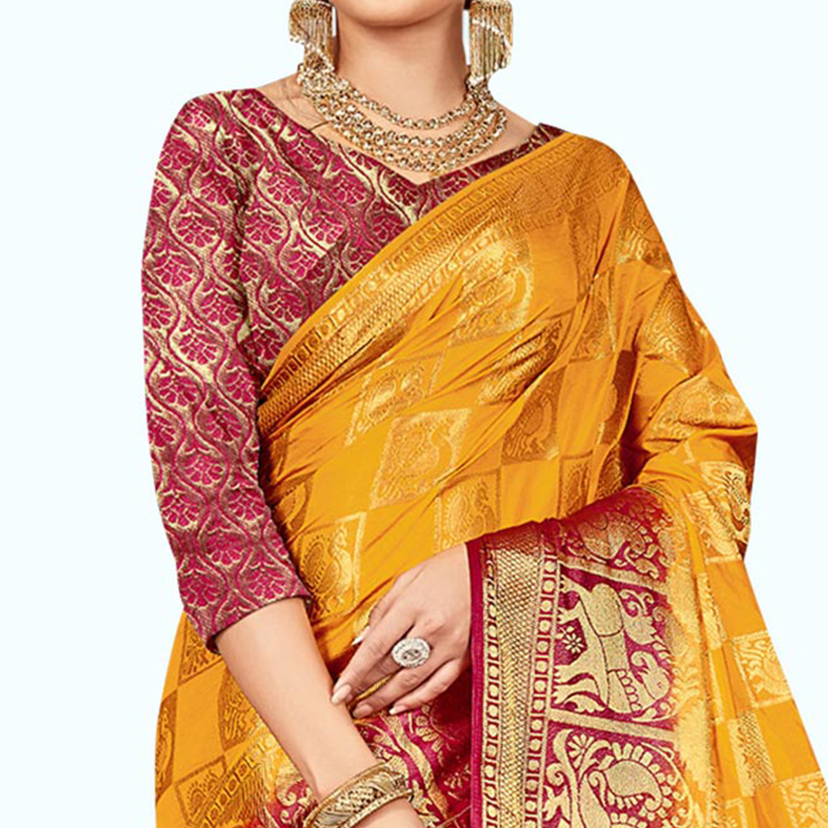 Fantastic Mustard Yellow - Red Colored Festive Wear Woven Art Silk Saree