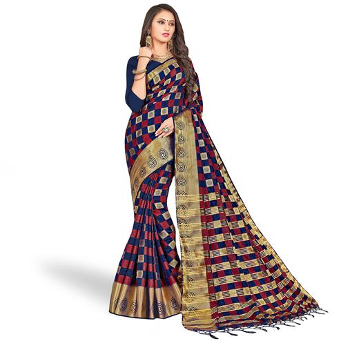 Graceful Navy Blue Colored Festive Wear Woven Art Silk Saree