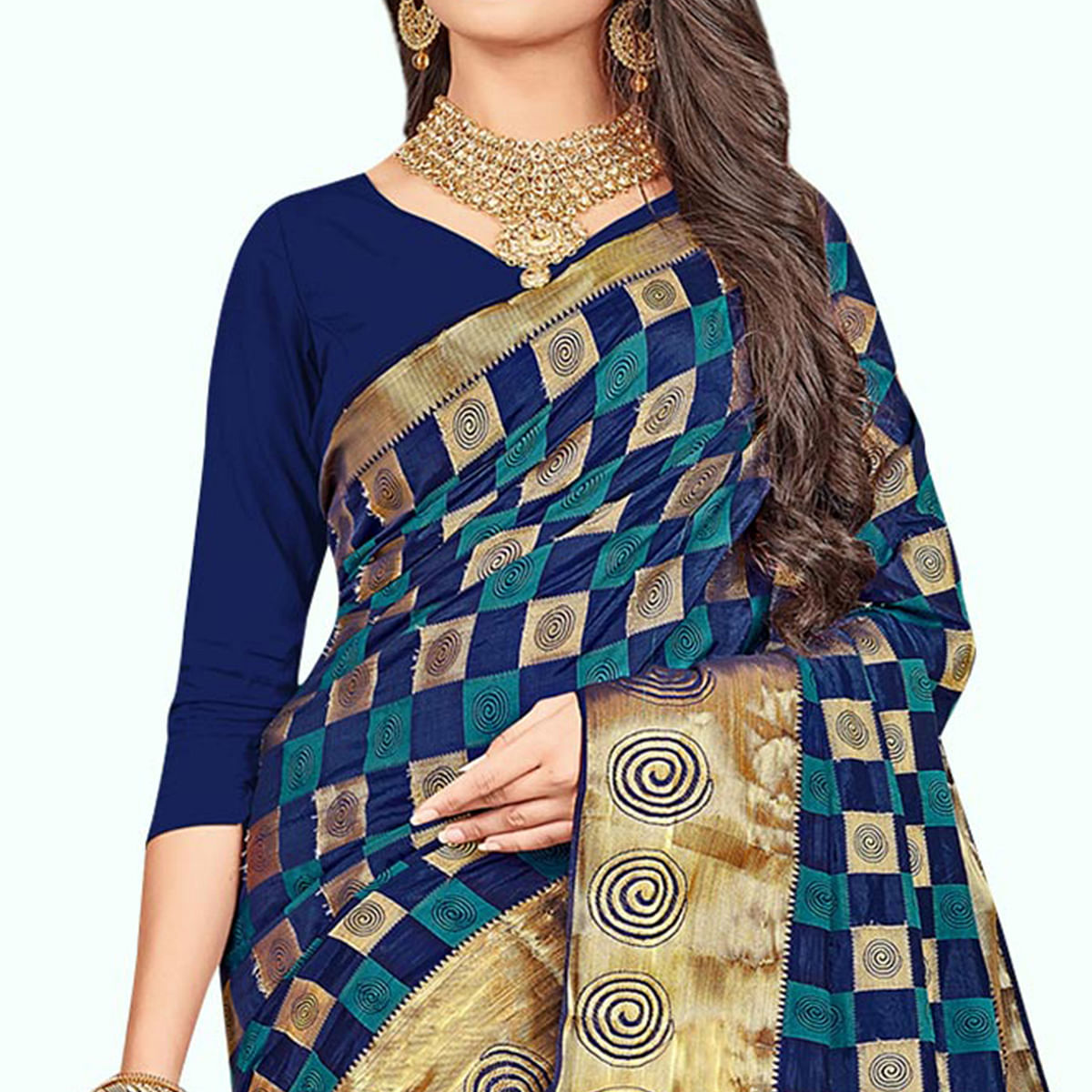 Innovative Royal Blue Colored Festive Wear Woven Art Silk Saree