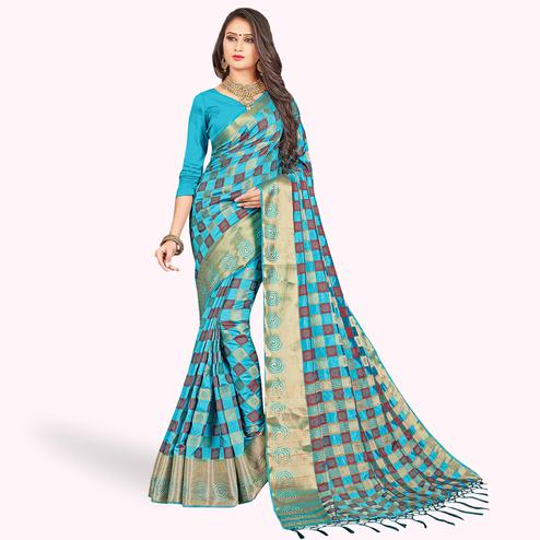 Fantastic Sky Blue Colored Festive Wear Woven Art Silk Saree