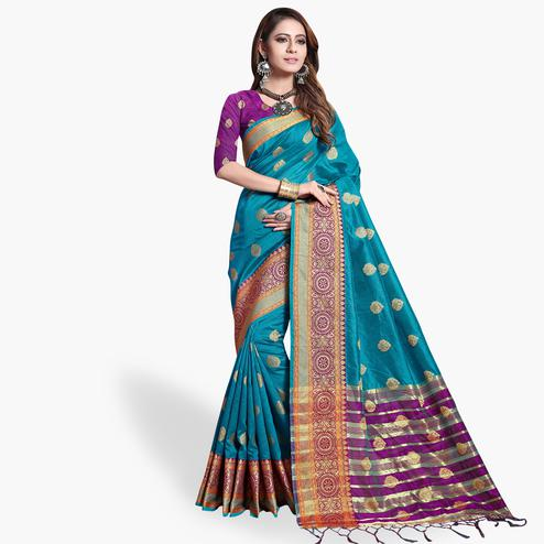 Ideal Deep Sky Blue Colored Festive Wear Cotton Silk Saree