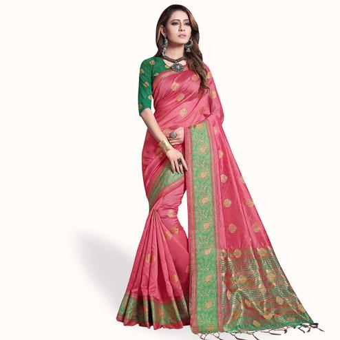 Imposing Pink Colored Festive Wear Cotton Silk Saree