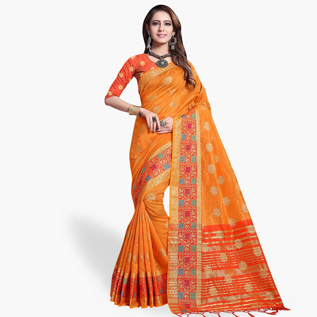 Lovely Light Orange Colored Festive Wear Cotton Silk Saree