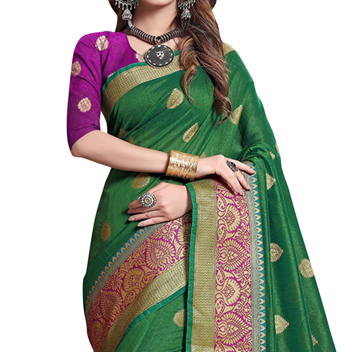 Majesty Green Colored Festive Wear Cotton Silk Saree