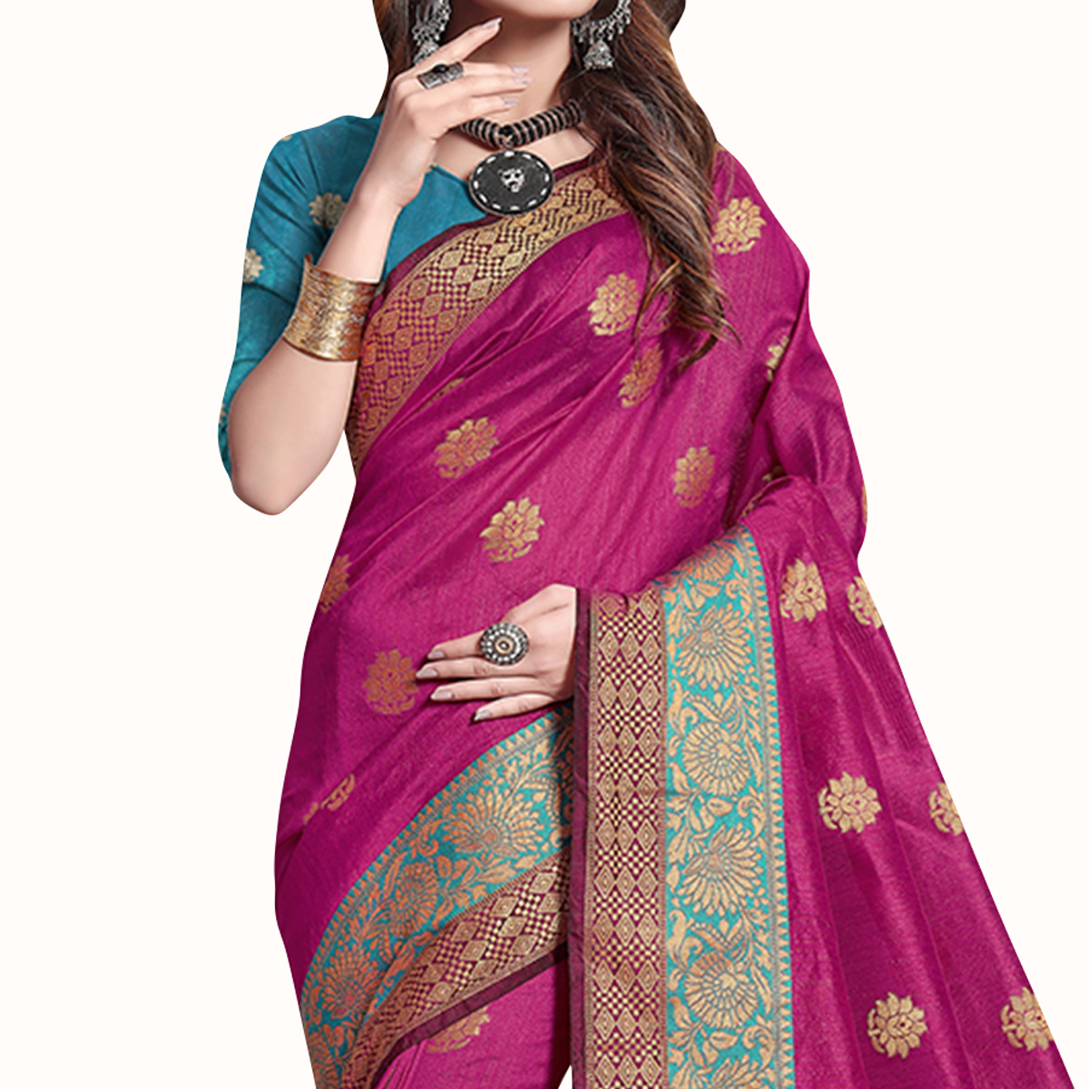 Impressive Magenta Pink Colored Festive Wear Cotton Silk Saree
