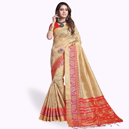 Mesmerising Beige Colored Festive Wear Cotton Silk Saree